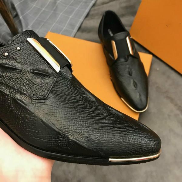 (Caixa + saco de pó) designer de marca de negócios da marca de negócios sapatos high-end explosões quentes planas sapatos casuais de couro superior