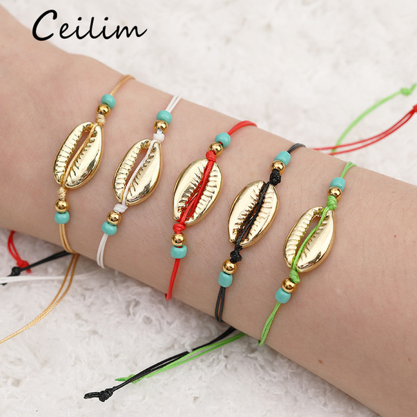Handgemachte Seil-Korn Geflochtene Armbänder Gold Sea Shell-Armband Neue Ankunfts-bunte natürliche Korn-Armbänder für Frauen-Sommer-Strand-Schmuck