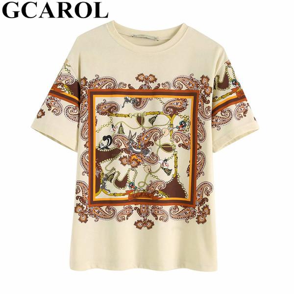 3729078220 GCAROL 2019 Verano Tropical Floral Tshirt Ins Chic Camisetas básicas  perfectas 70% algodón 30%