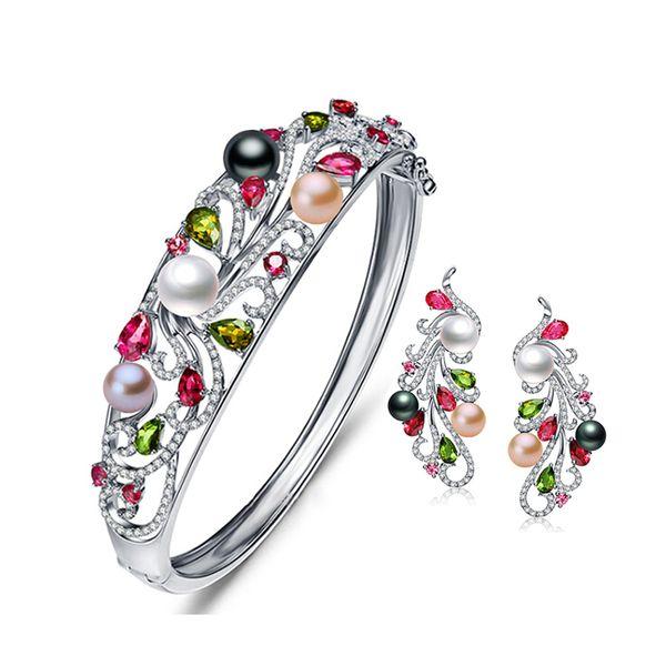 Meibapj Luxus 925 Sterling Silber Bunte Perle Phoenix Armband Echte Natrual Freahwater Perle Armreif Für Frauen J190721
