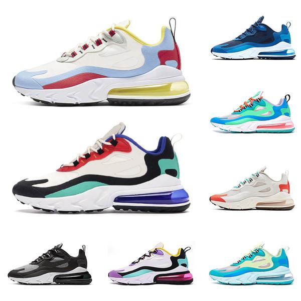 nike air max 270 react Yeni varış hava tepki erkekler koşu ayakkabı en kaliteli üçlü siyah beyaz gri moda erkek eğitmenler nefes spor sneakers