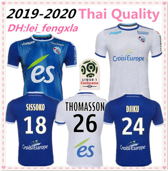 19 20 Racing Straßburg Fußball Trikots zu Hause weg LALA THOMASSON DJIKU MOTHIBA SISSOKO MARTIN 2019 2020 JERSEY Fußball Hemden