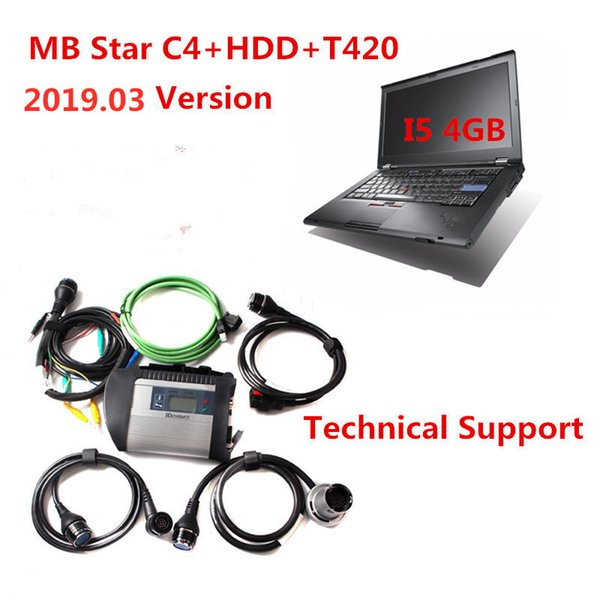 High Quality OBD2 Scanner MB Star c4 + Laptop T420(I5/4G)+2019.03 Engineer DTS HDD Professional OBD2 diagnosti tool