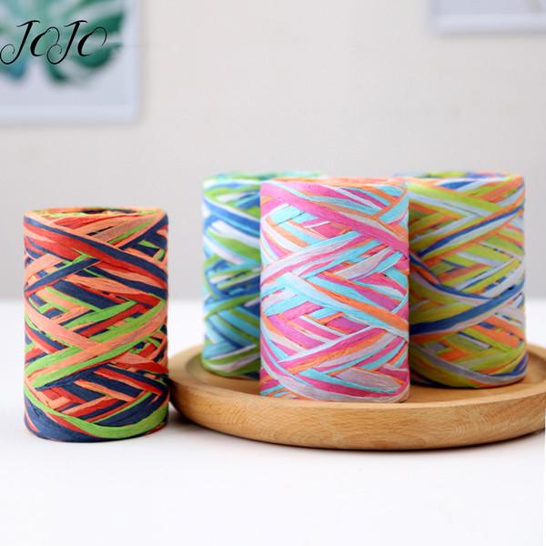 JOJO BOWS 80m 1pc Cuerdas de cuerda de papel de Lafite de color para el material de embalaje de regalo de costura hecho a mano Suministros de artesanía para textiles para el hogar