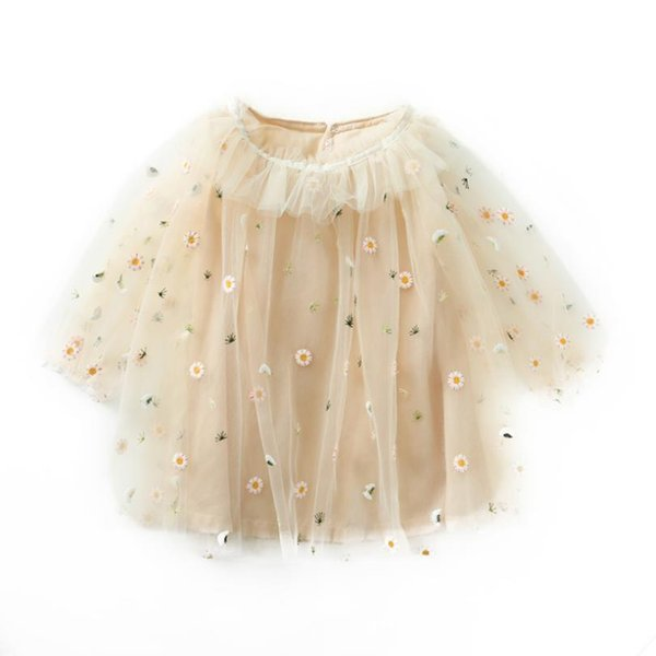 Children Dress For Girl Cute Long Sleeve Baptism Clothing Spring Autumn Princess Party Beach Mesh Tutu Dresses 4 5 Years Clothes J190615
