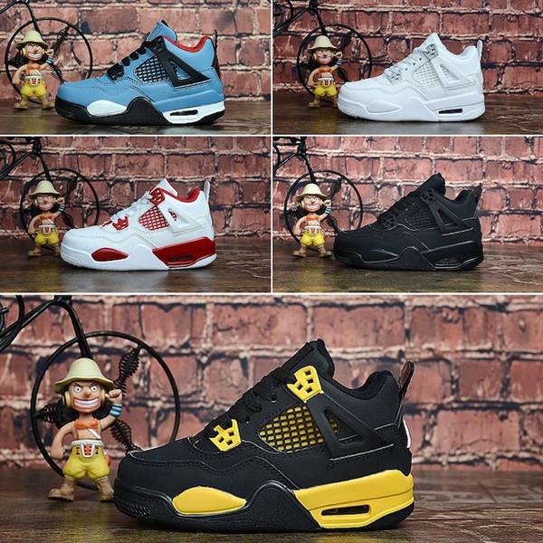 Mens J 4 jumpman basketball shoes 4s black Denim Laser White Cement Pale Citron Oreo Tattoo air flight j4 kids sneakers