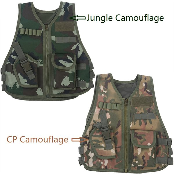Children Multiple Pockets Tactical Jacket Kid Breathable Quick Dry Camouflage Vest Outdoor Adventure Hunting Game Vest