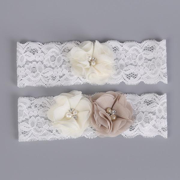 Bridal Garter Lace with Floral Champagne Ivory Chiffon Flowers Wedding Garters For Bride Vintage Traditional Bridal Leg Garter