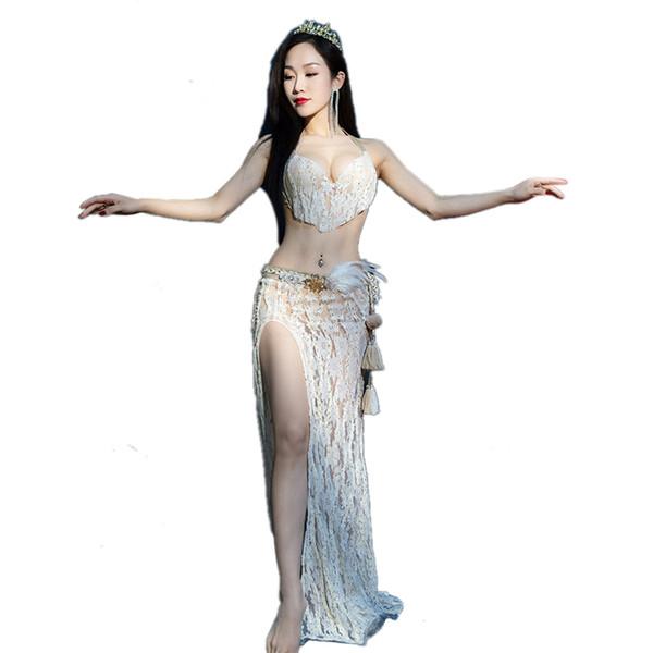 Женщины дамы танец живота костюм Установить Bellydance Практика Танцы Одежда Sexy 2 шт Набор кружева бюстгальтер Сплит юбка Танцы Outfit