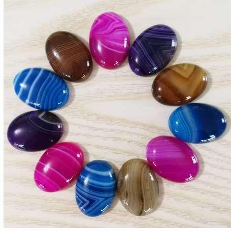 Moda misturado Listrado onyx contas de pedra natural para fazer jóias charme 25X18 MM cab cabochão Acessórios do anel 12 Pc / lote No buraco