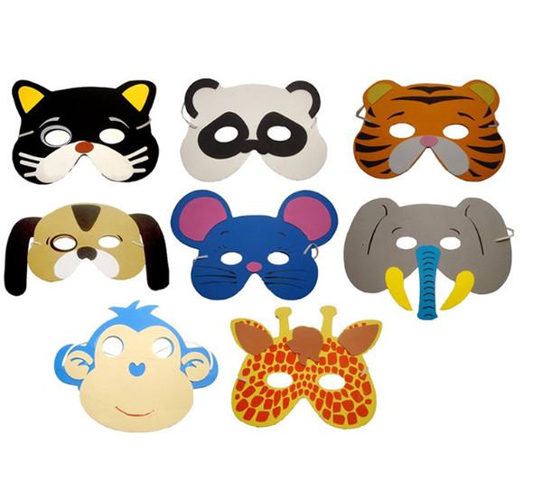 EVA Espuma Animal Máscaras para Crianças Favores da Festa de Aniversário Vestir Traje Do Jardim Zoológico Selva Partido Suprimentos W8380
