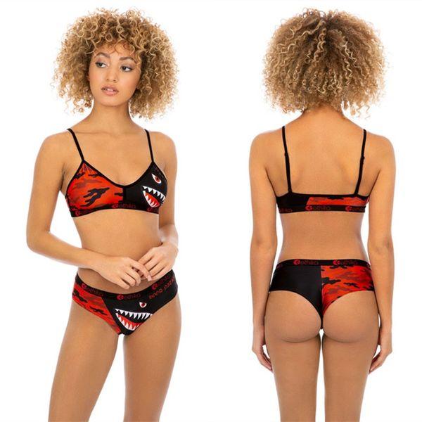 여성 2 piece ethika set 디자이너 수영복 비키니 세트 수영복 조절 가능 브래지어 + Hipster 비키니 수영복 Shark Beachwear C61806