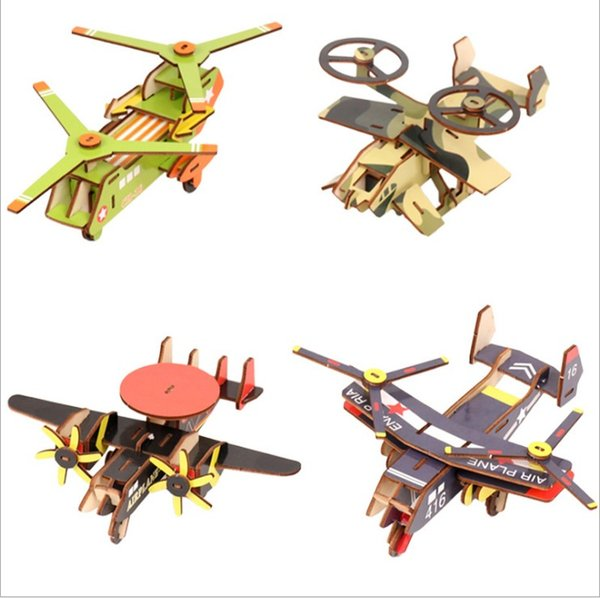 New Children Wooden Plane 3d Puzzle Toys Boy Intellectual Hand - Made Model Adult Building Blocks Assembled Toys Supplier 4 Styles