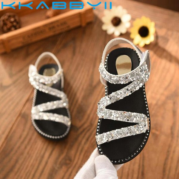 New Crystal Shiny Summer Children Beach Sandals For Girls Princess Shoes Kids Size 26-36 Q190601