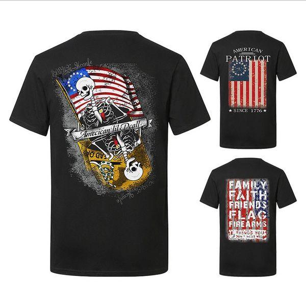 T-shirt à manches courtes pour hommes été populaire drapeau col rond impression décontractée tops Europe et Amérique style sauvage vêtements pour hommes en gros