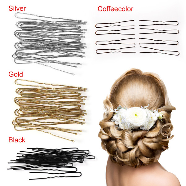 20pcs/lot 4Colors U Shaped Hairpin Hair Clips Pins Metal Barrette Women Hair Styling Tools Accessories Braided Tool