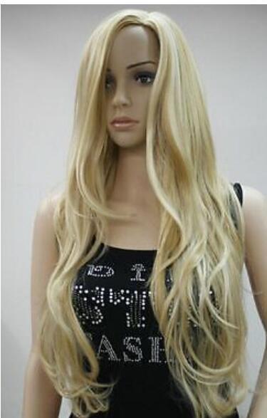 ENVÍO GRATIS + + Lady Sexy Larga ondulada rizada pelucas de pelo fiesta rubia