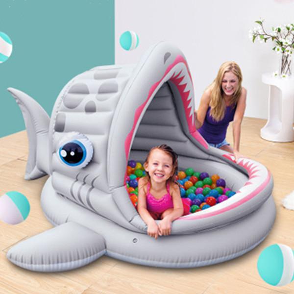 Designer Inflatable kids Bath Tub Pool Shark Canopy Sun Shade Baby Swimming Pool Paddling Pools Ocean Ball Pool