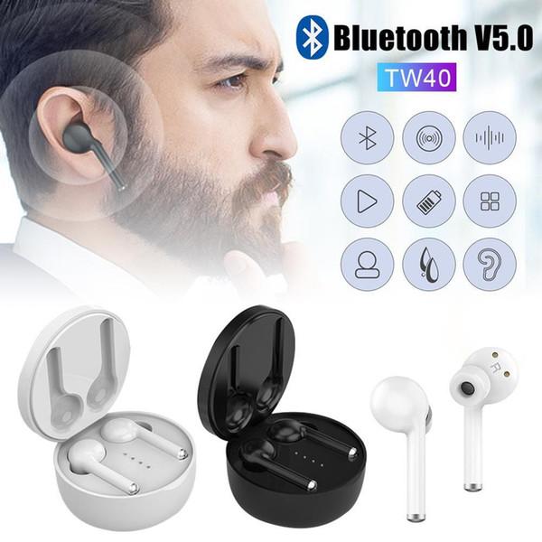 Auricular inalámbrico TW40 TWS Música Auriculares Auriculares Manos libres Bluetooth Auriculares Auriculares con micrófono para iPhone Huawei Xiaomi
