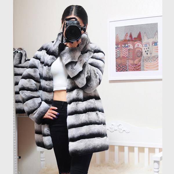 2019 Gerçek Kürk Uzun Ceket Kış Ceket Kadınlar Doğal Rex Tavşan Kürk Dış Giyim Kalın Sıcak Marka Lüks Yaka Casual SH190922 Standı