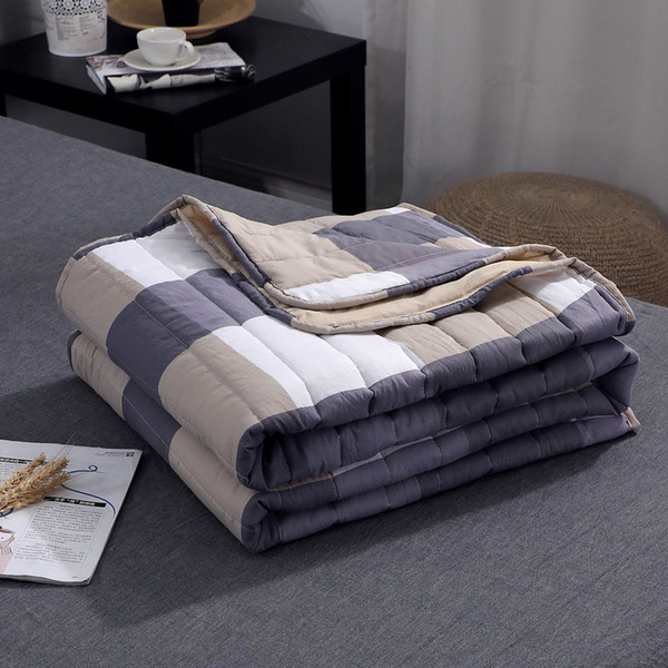 Plaid Air Conditioning Throw Blanket Summer Cotton Thin Blankets for Beds Office Sofa Towel Quilt Good Quality Tv Blanket