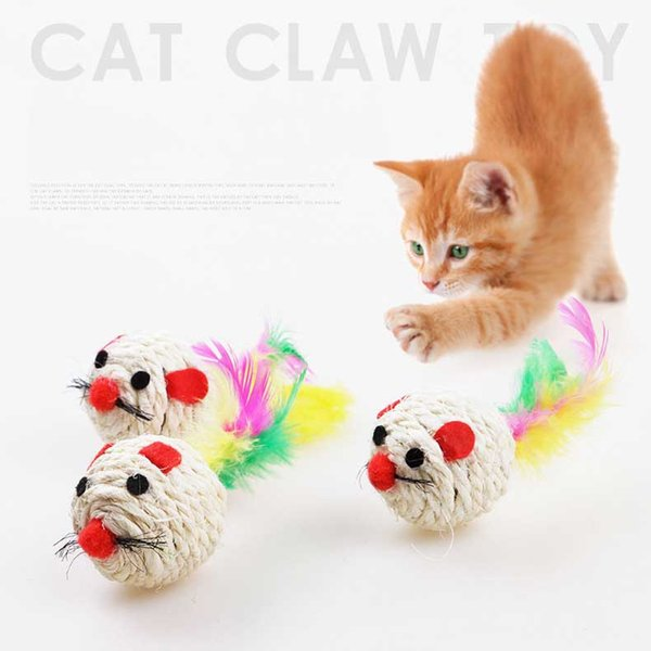 Hot Sale Cat dog Toys Sisal ball mouse funny toy Feather Toy for Cat Kitten Funny Playing Interactive Toy Pet Cat Supplies