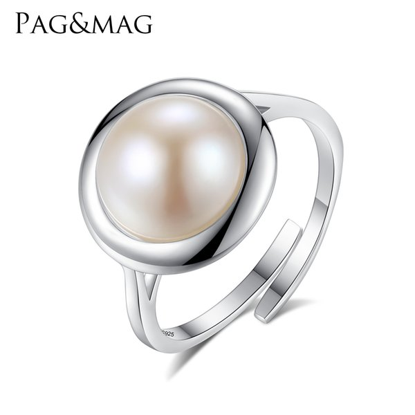 PAG&MAG Authentic 925 Sterling Silver Elegant Round Natural Freshwater White Pearl Rings for Women Adjustable Ring Fine Jewelry