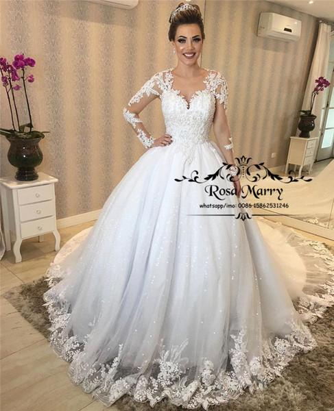 Принцесса Длинные рукава Винтажные кружевные свадебные платья 2020 бальное Sequined бисером плюс размер Муслим Платье De Novia Свадебные платья Gelinlik е