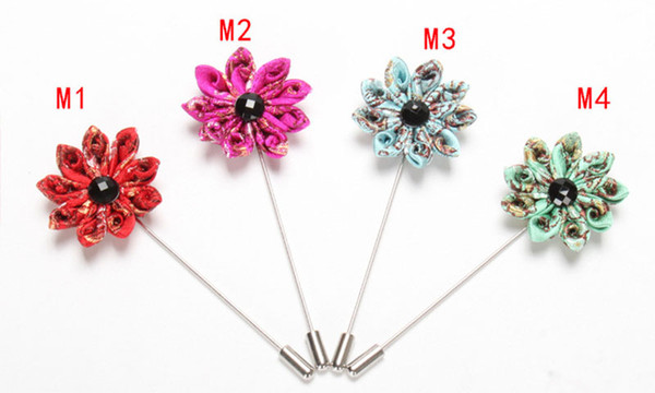 8pcs men brooch flower lapel pin suit boutonniere ribbon fabric yarn pins button Stick flower brooches Wholesale