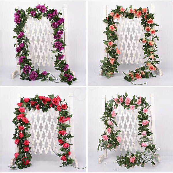 2.2m Yapay Çiçek Vine Sahte İpek Gül Sarmaşık Çiçek Düğün Dekorasyon Yapay Vines için Garland Ev Dekorasyonu Asma