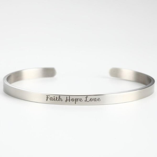 1e4fd2afc6dd2 2019 Fashion Stainless Steel Cuff Engraved Bracelet Faith Hope Love  Inspirational Bangle For Christmas Day, Anniversary Day, Thanksgiving Day  An From ...