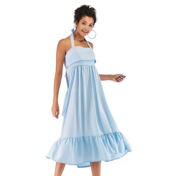 Halter Backless Tie Bow Dress Women Midi Dresses Summer Sweet Blue Pure Dress Ruffles Sleeveless Vacation Beachwear