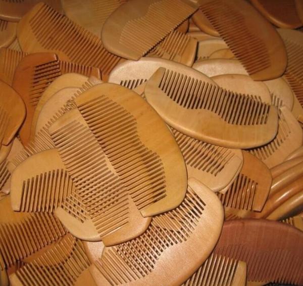 best selling 1pcs Natural Peach Wooden Comb Beard Comb Pocket Comb 11.5*5.5*1cm free shipping