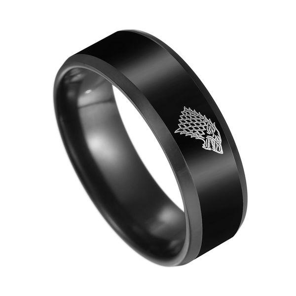 Black Color Stainless Steel Men Game Ring of Thrones House Stark Winterfell Wolf Ice Men Rings For Women Men