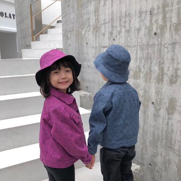 Yeni renkler Kız erkek Denim Ceketler Bahar Çocuklar Uzun Kollu Denim Ceket pantolon şapka Kız Bebek Işlemeli Giyim için