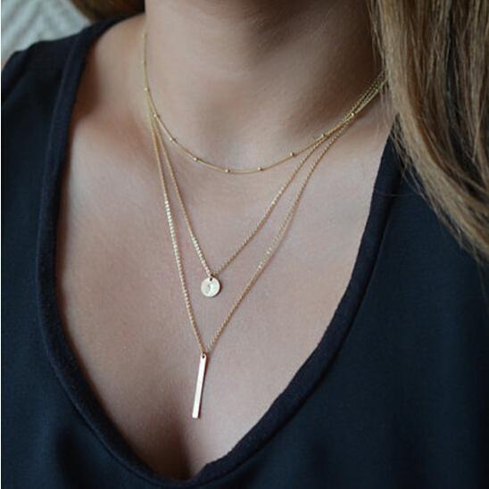 1 pc Charme Moda Feminina Jóias Colar Europeu Simples ouro-cor Multi Camadas Borlas Bar Moedas Colar de Correntes Clavícula