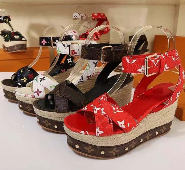 2019 صندل بسيبر كلاسيكي للنساء مصنوع من الجلد ، حذاء بدون كعب من إسبادريل مع نعال من القش عارضة أحذية للنساء الانزلاق على المقاس: 35-41 مع صندوق L5