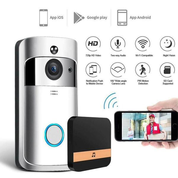 Anillo Puerta Nueva inalámbrica WiFi IR timbre de la puerta visual de alta definición cámara inteligente a prueba de agua Sistema de seguridad Wi-Fi inalámbrica de vídeo timbre de la puerta de intercomunicación teléfono inteligente
