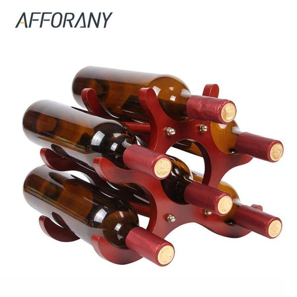 6 bottiglie di vino Rack supporto di legno Bottiglia di vino stand Shelf Tabletop Decoration Home Bar bagagli Scaffali Utensili da cucina