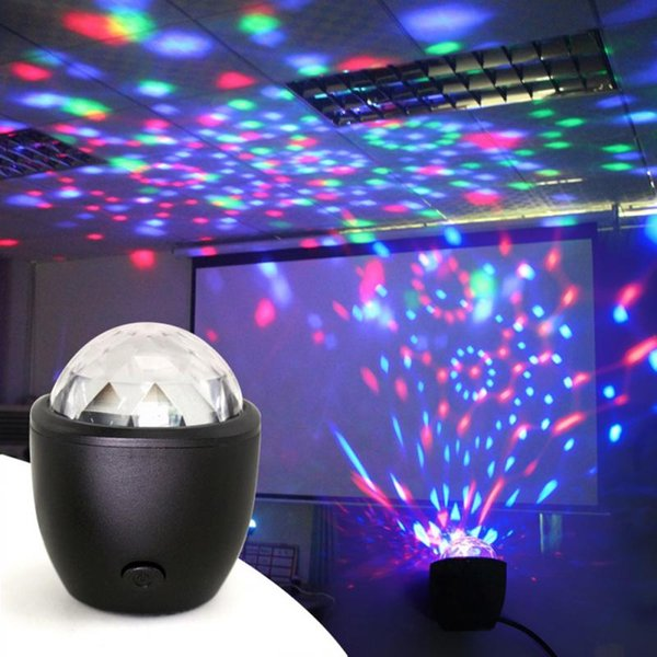 Flash DJ Lights Mini Voice Activated USB Crystal Magic Ball Led Stage Disco Ball Projector Party Lights for Home KTV Bar Car