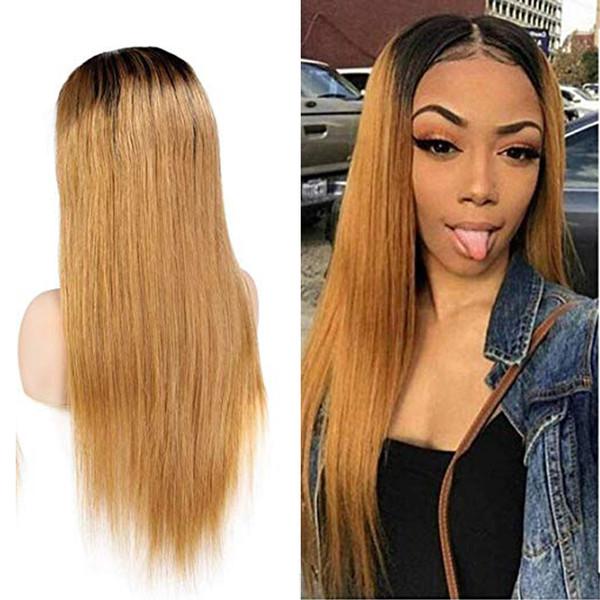 Ombre 1B / 27 Pelucas delanteras del cordón del pelo humano Brasileño de la Virgen del pelo Recto sedoso 150 densas pelucas llenas del cordón con el pelo del bebé para BWomen