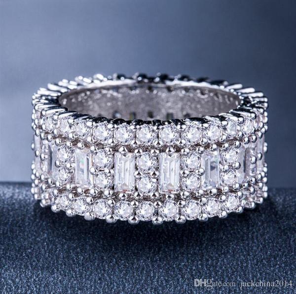 Victoria Wieck Nouvelle Arrivée De Luxe Bijoux Cercle Anneaux 925 Sterling En Argent Princesse Topaz CZ Diamant Éternité Bague De Mariage Bague pour Femmes