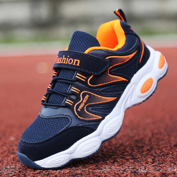 Fashion Children's Shoes 2018 Autumn Boy Flame Mesh Breathable Running Shoes Kids Casual Mesh Sports Shoes Y19051303