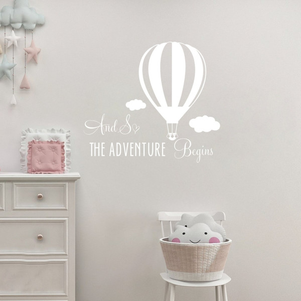And So Adventure Begins Hot Air Balloon Kids Room Quote Vinyl Wall Decals Decor