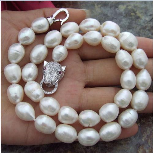 Moda 11-13 mm naturale bianco barocco collana di perle 18.