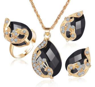Schmucksets 5 Farben Kristall Pfau Schmucksets Braut Hochzeit Halskette Ohrringe Ohrringe Ring Set parure bijoux femme