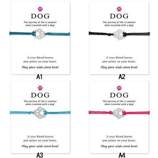 Mi amor perro pulseras de garra con tarjeta encanto animal infinito deseo brazalete para mujeres hombres chico chica regalo de joyería de moda
