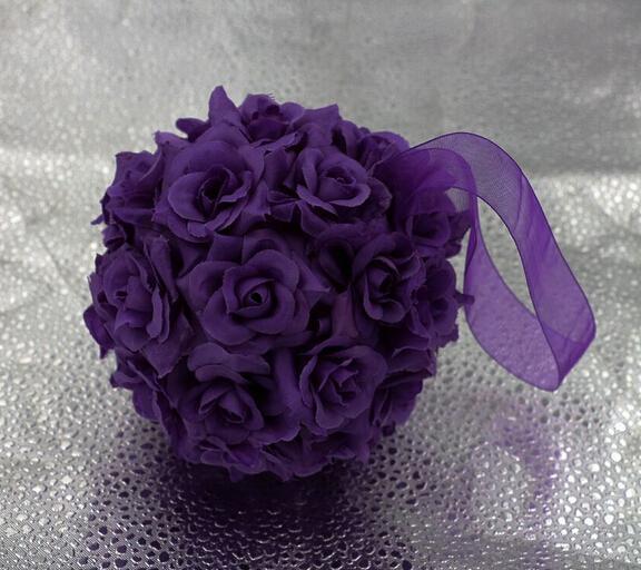 Toptan-6 Mor İpek Gül Çiçek Öpüşme Topu Düğün Dekorasyon 5