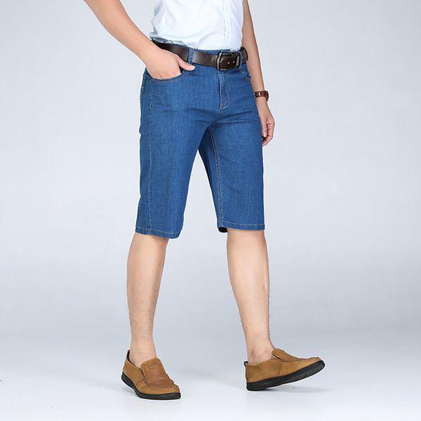 Short en jean AudWhale Summer Solid Blue pour hommes Short de jeans décontractés pour hommes, taille solide, taille basse pour hommes
