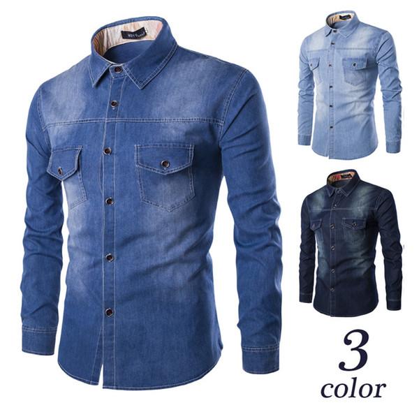 Autumn Solid Color Fashion Denim Shirt Men Cotton Brand Clothing Washed Pocket Design Casual Slim Fit Jeans Shirt M-3XL
